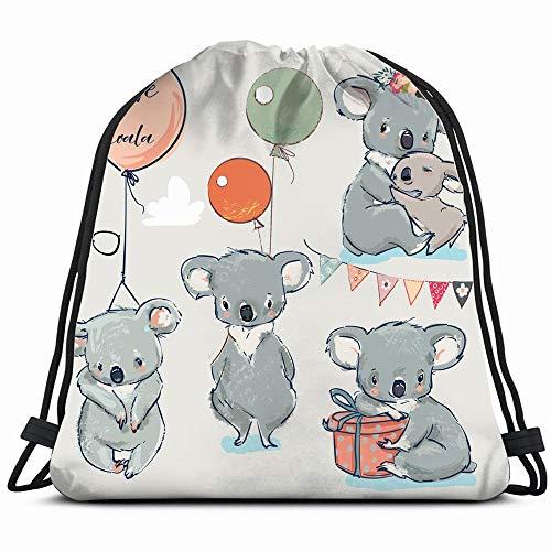 (Se Little Koalas Balloons Animals Wildlife Koala Drawstring Backpack Gym Dance Bags For Girls Kids Bag Shoulder Travel Bags Birthday Gift For Daughter Children)