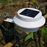 Outdoor Solar Powered 3 LED Light Fence Roof Gutter Garden Yard Wall Lamp