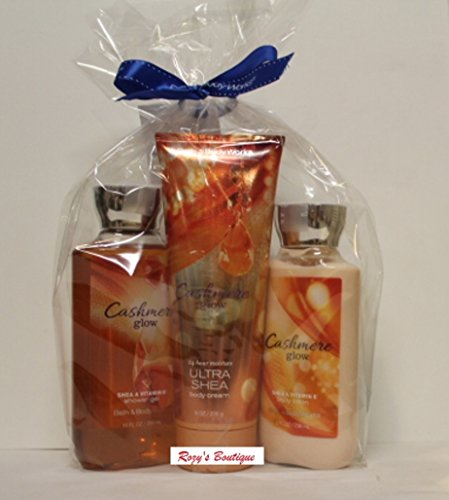 Bath Body Works Signature Collection Cashmere Glow Shower Gel, Ultra Shea Body Cream Body Lotion Gift Set
