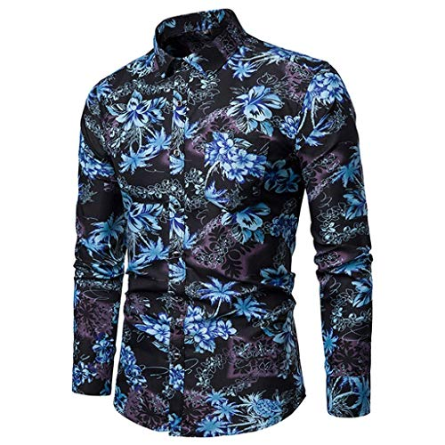 Stoota Men's Floral Printed Long Sleeve Slim Fit Comfortable Shirt Top Blouse Blue