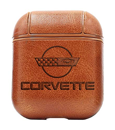 Logo Corvette 1 (Vintage Brown) Air Pods Protective Leather Case Cover - a New Class of Luxury to Your AirPods - Premium PU Leather and Handmade exquisitely by Master Craftsmen