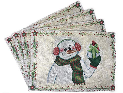 """DaDa Bedding Magical Snowman Placemats - Set of 4 Festive Holiday White Tapestry - Cotton Linen Woven Dining Table Mats - 13"""" x 19"""" (9733) - Family Snowman Plate"""