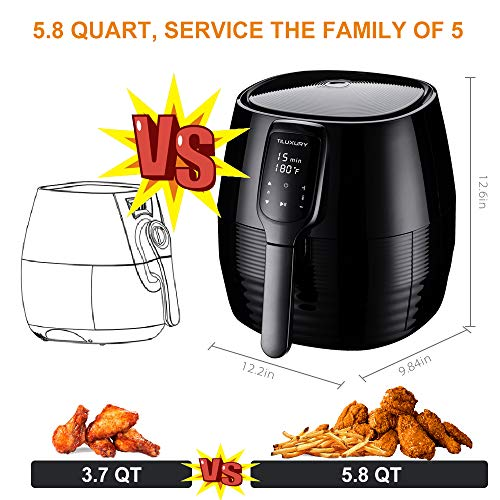 Air Fryer XL, 5.8Qt Electric Hot Airfryer Oven Oilless Cooker with Detachable Nonstick Basket, LCD Touch Screen, Timer Temperature Control, Dishwasher Safe, Auto Shut Off, W/50 Recipes, 1400W by US PIEDLE (Image #1)