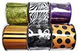Set of 6 Halloween Wired Ribbon Rolls! 3 Yards of...