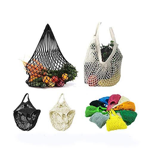 4 Pack Reusable Mesh Cotton Net Market String Bag Organizer (Multipurpose, Portable Shopping Tote Handbag), for Grocery Shopping&Outdoor Packing, Storage, Fruit, Vegetable (Black+White+2 Mixed ()