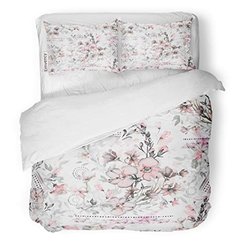 Tarolo Bedding Duvet Cover Set Gray Pattern Watercolor Flowers and Ornaments Abstract Floral Meadow Wild Geometric Pink Bedclothes 3 Piece King 104