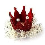 Haarclip - SODIAL(R)Baby Maedchen Krone Perle Prinzessin Haarclip Party Zubehoer (rot)