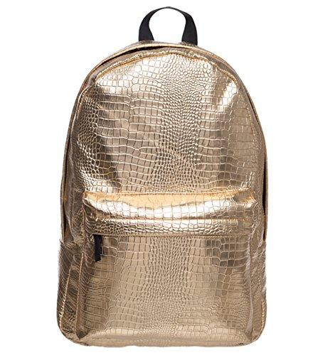 Pulama Water Proof PU Leather Backpack Vintage School Bag Gold Croco ()