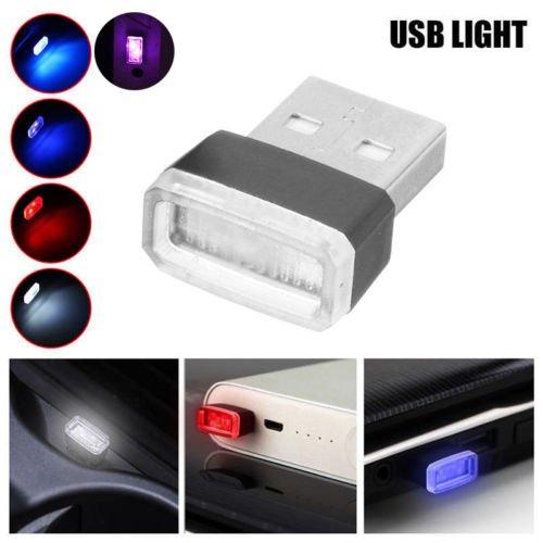 Zantec Car USB Atmosphère lumière universel Mini USB sans fil à LED de voiture éclairage Intérieur Atmosphère lumière Pied lampe 1pcs blanc