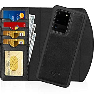 "FYY Case for Samsung Galaxy S20 Ultra 5G 6.9"", 2-in-1 Magnetic Detachable Wallet Case [Wireless Charging Support] with Card Slots Folio Case for Galaxy S20 Ultra 5G 6.9 inch 2020 Black"