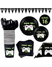 BleuZoo Video Game Party Supplies - Gamer Birthday Set Decorations Decor Gaming Theme Pack - Includes: Big and Small Plates, Tablecloth, Banner, Napkins, Cups, Forks, Knives, Spoons (Serves 16)