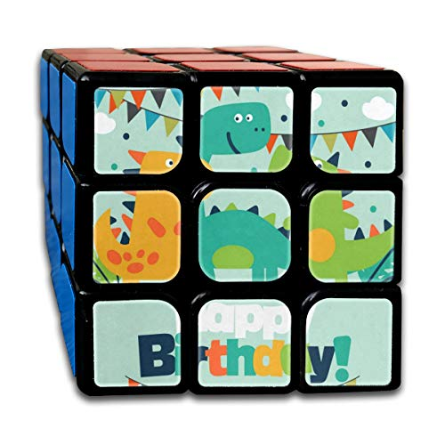 Rubiks Cube Happy Birthday Dinosaur Cute Hot Speed Cube 3x3 Smooth Magic Square Puzzle Game Black -