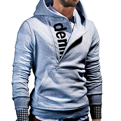 Hot Halloween Costume Party Pics (Hot Sale ! Sweatshirt ,BeautyVan Retro Fashion Mens' Long Sleeve Hoodie Hooded Sweatshirt Tops Jacket Coat Outwear (L, Gray))