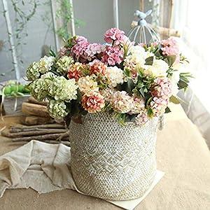 Mini Hydrangea Artificial Flower Small Bouquet Home Wedding Decoration Silk Flower Chrysanthemum Plant Wall Fake Flower,Orange 4