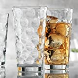 Bubble Design Tall Drinking Highball Glasses Clear Heavy Base 10pc 17oz