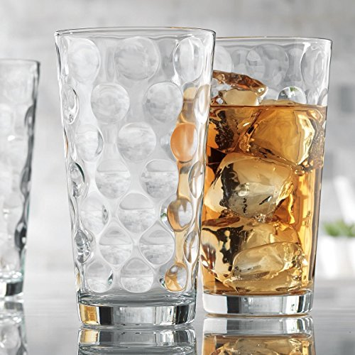 - Attractive Bubble Design Highball Glasses Clear Heavy Base Tall Bar Glass Bubble Design - Set Of 10 Drinking Glasses for Water, Juice, Beer, Wine, and Cocktails, 17 ounce