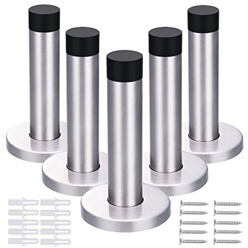 -[ 5 Pack 90 mm Door Stop Stainless Steel Door Stopper Holder with Screws and Drywall Anchors  ]-