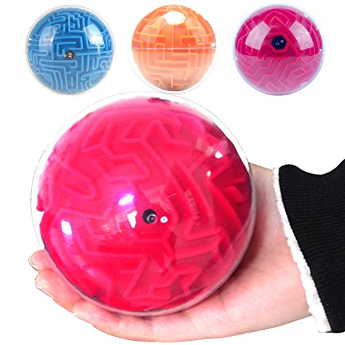 Brain Intelligent Game (BabyPrice BRAIN GAME! 3D Maze Ball Puzzle Game Brain Teaser Ball Magic Games Intelligent toy Toys for Adults and Kids,Red)