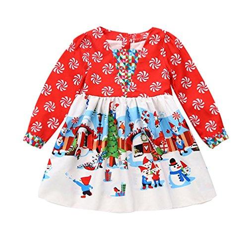 kaifongfu Dress Christmas,Toddler Kids Baby Girls Cartoon Princess Dress (Red, 90♣♣Size:3T)