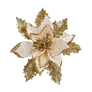 Hilai 1PC Glitter Artificial Flower Christmas Tree Flowers Wedding Decor Ornaments Poinsettia Prop 6.7inch (Gold) 32