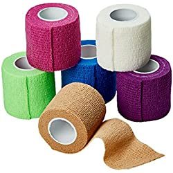 Self Adherent Cohesive Wrap Bandages 2 Inches X 5 Yards 6 Count, FDA Approved (Rainbow Color)