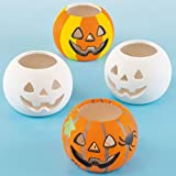 Baker Ross Halloween Ceramic Pumpkin Tealight Holders for Children to Decorate and Personalise - Pack of 4