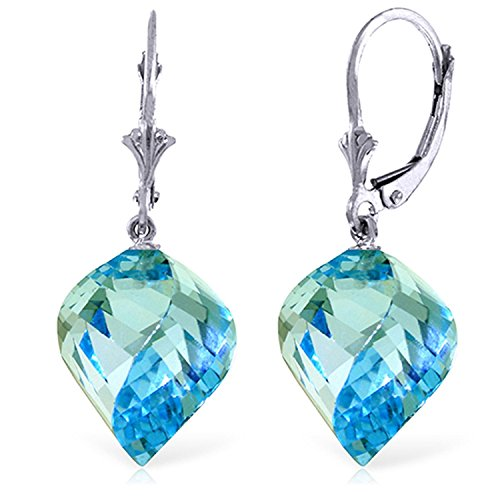 - ALARRI 27.85 Carat 14K Solid White Gold Leverback Earrings Twisted Briolette Blue Topaz