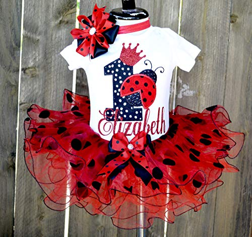 Personalized ladybug birthday outfit,1st birthday tutu,First Birthday Outfit Girl Baby Girl 1st Birthday Outfit 1st Birthday Girl Outfit Red black polka Smash Cake Outfit