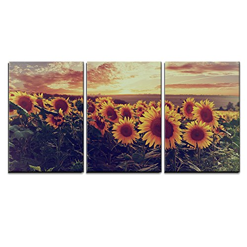"Wall26 - 3 Piece Canvas Wall Art - Summer landscape with colorful sunset over sunflowers field, vintage style - Modern Home Decor Stretched and Framed Ready to Hang - 16""x24\""x3 Panels"
