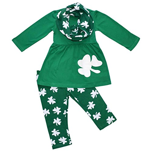 [Unique Baby Girls St Patrick's Day Double Clovers Legging Set (4T/M, Green)] (St Patricks Day Shirts For Toddlers)