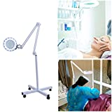 Salon Magnifier Lamp 5X Floor Lamp Rolling Stand Adjustable Magnifying Light Beauty Manicure Tattoo Skincare Equipment (White)