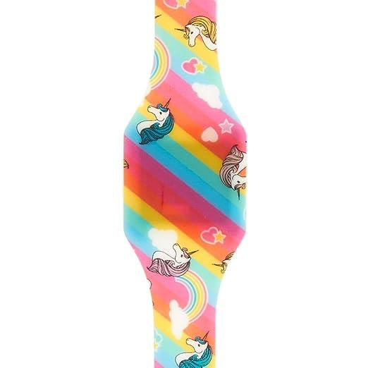 Reloj de pulsera para niña, de la marca Claire, diseño de unicornio y arco iris, luz LED, Digital, de goma: Amazon.es: Relojes