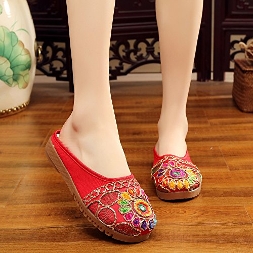 Rojo Estilo Flip Mn Flop Sandalias Moda Étnico Bordado Único Zapatos De Cómodo Tendón Mujeres XxFwOxqZB