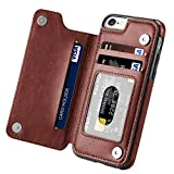 Iphone 6 Wallet Case,iphone 6s Case with Card Holder,Aprilday iPhone 6 Case Impact Resistant Shockproof Rubber Bumper Case Folio Flip Premium Leather Case with Kickstand&ID&Credit Card Pockets (Brown)