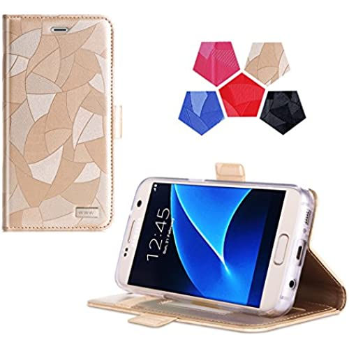 Galaxy S7 Case, Samsung Galaxy S7 Case, WWW [Top-Notch Series] Premium PU Leather Wallet Case Protective Cover for Samsung Galaxy S7 Gold Sales