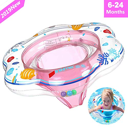 Baby Float Swimming Ring with Safety Seat, Pool Swim Float with Double Airbag Baby Kids Pool Bathtub Outdoor Swimming Pool Toys Accessories for Kids Toddlers of 6-24 Months (Pink)