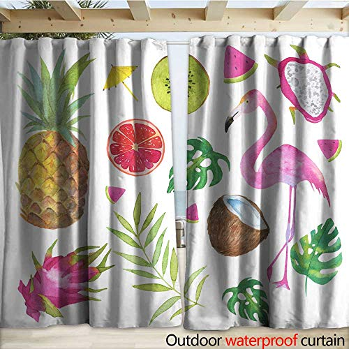 warmfamily Grommet Curtain Panel Tropical Set with Green Leaves Fruits and Pink Flamingo Isolated on White Background Drapery W120 x L84