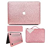 MacBook Air 13 Inch Case 2018 Release A1932, Anban Glitter Bling Smooth Protective Case & Glitter Laptop Sleeve & Keyboard Cover Compatible for MacBook Air 13 Inch with Touch ID