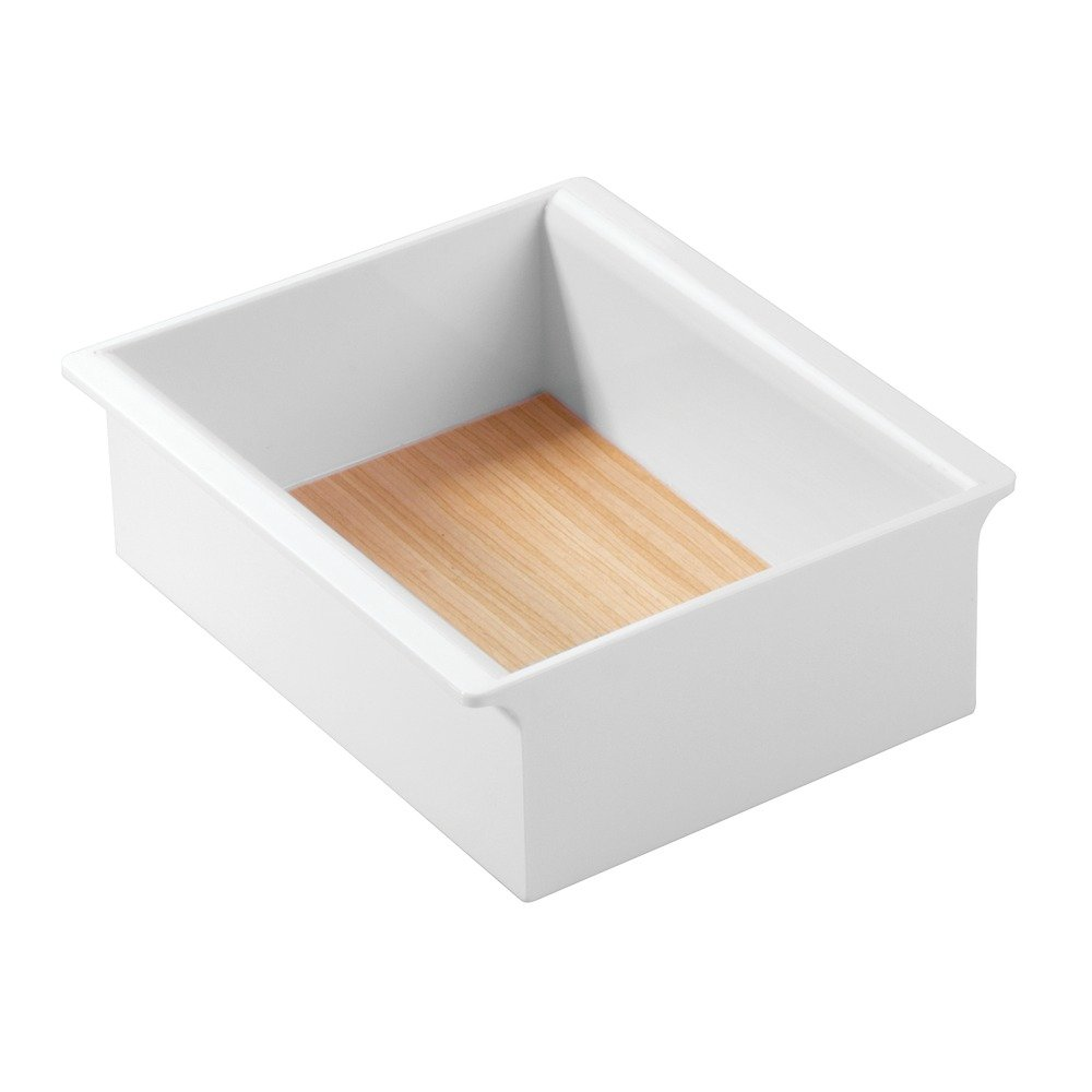 InterDesign RealWood Cosmetic Organizer Tray for Vanity Cabinet to Hold Makeup, Beauty Products - Small, White/Light Wood Finish 90670