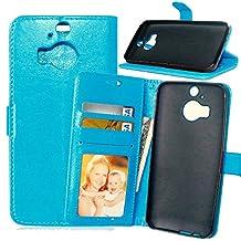 HTC M9 Plus Premium PU Leather Case Pouch, Flip Wallet Case Silicone Cover with Card and Cash Slot for HTC M9 Plus ( Color : Blue-HTC M9 Plus )