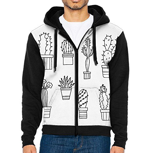 Black Panther Half Mask (HenSLK Men's Lovely Plants Cacti Casual Pockets Sweatshirt Zipper Hoodie Crew Hooded Shirts Athletic Sportwear)