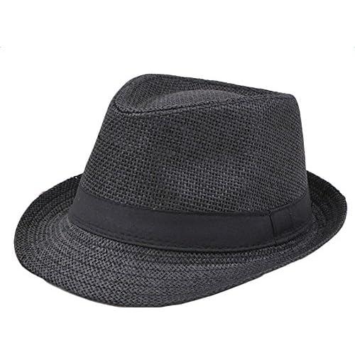 7d349db75adae Delicado TREESTAR Casquillo casual de Panamá Hombres sombrero de sol de  borde redondo Paja sombrero para