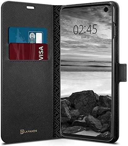 【Spigen x LA MANON】 Galaxy S10 ケース [ SC-03L SCV41 ] 対応 カード収納付き スタンド機能 ワイヤレス充電対応 ウォレットサフィアーノ 手帳型ケース 605CS25819 (ブラック)