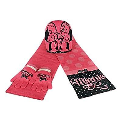 Minnie 2200000343 - Set de 3 piezas con bufanda, gorro y guantes para niños, color rosa, talla única