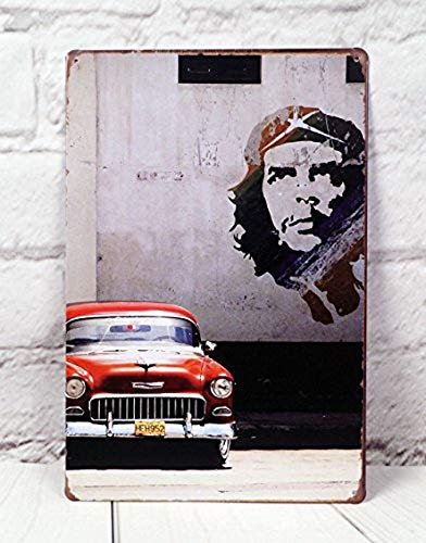 Ugtell Retro Tins Red Car Poster Garage Classic Bar Cafe Shop Garage Vintage Wall Decor Retro Metal Tin Signs Art Poster Large Table Centerpieces for Home