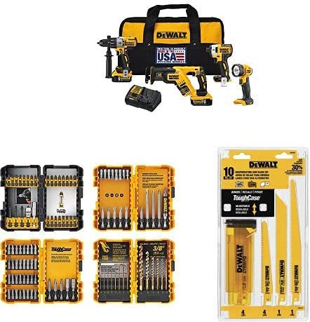 DEWALT DCK494P2 20V Max XR Lithium Ion 4-Tool Combo Kit with DEWALT DWA2FTS100 Screwdriving and Drilling Set, 100 Piece and DEWALT DW4898 Bi-Metal Reciprocating Saw Blade Set with Case, 10-Piece