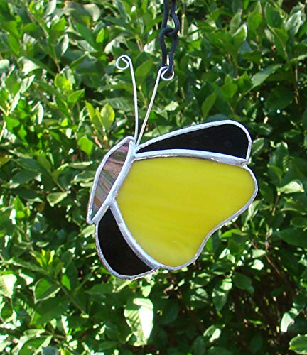 Yellow and Black Stained Glass Butterfly Handmade Sun Catcher (Yellow Butterfly Stained Glass Suncatcher)
