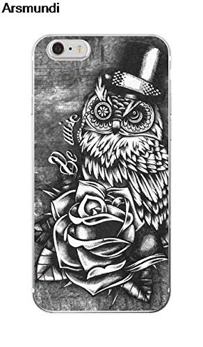 MISC Black White Owl iPhone 8 Case Grey Animal Themed 7 Cover Barn Owl Hooter Rose Top Hat Cool Talons Beautiful Brid Predator Hunter Flying Wings Beak, Plastic