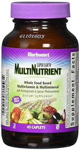 Bluebonnet Super Earth Multi-Nutrient Formula Iron Free Caplets, 45 Count (45 Caplets)