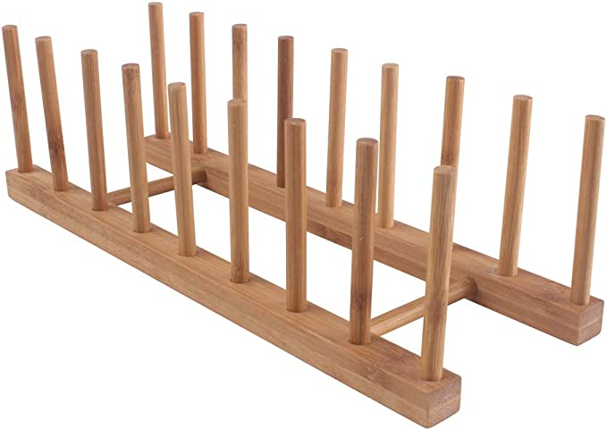 Z Zicome 8-Slots Bamboo Wooden Dish Rack Plate Rack Stand Pot Lid Holder Kitchen Cabinet Organizer